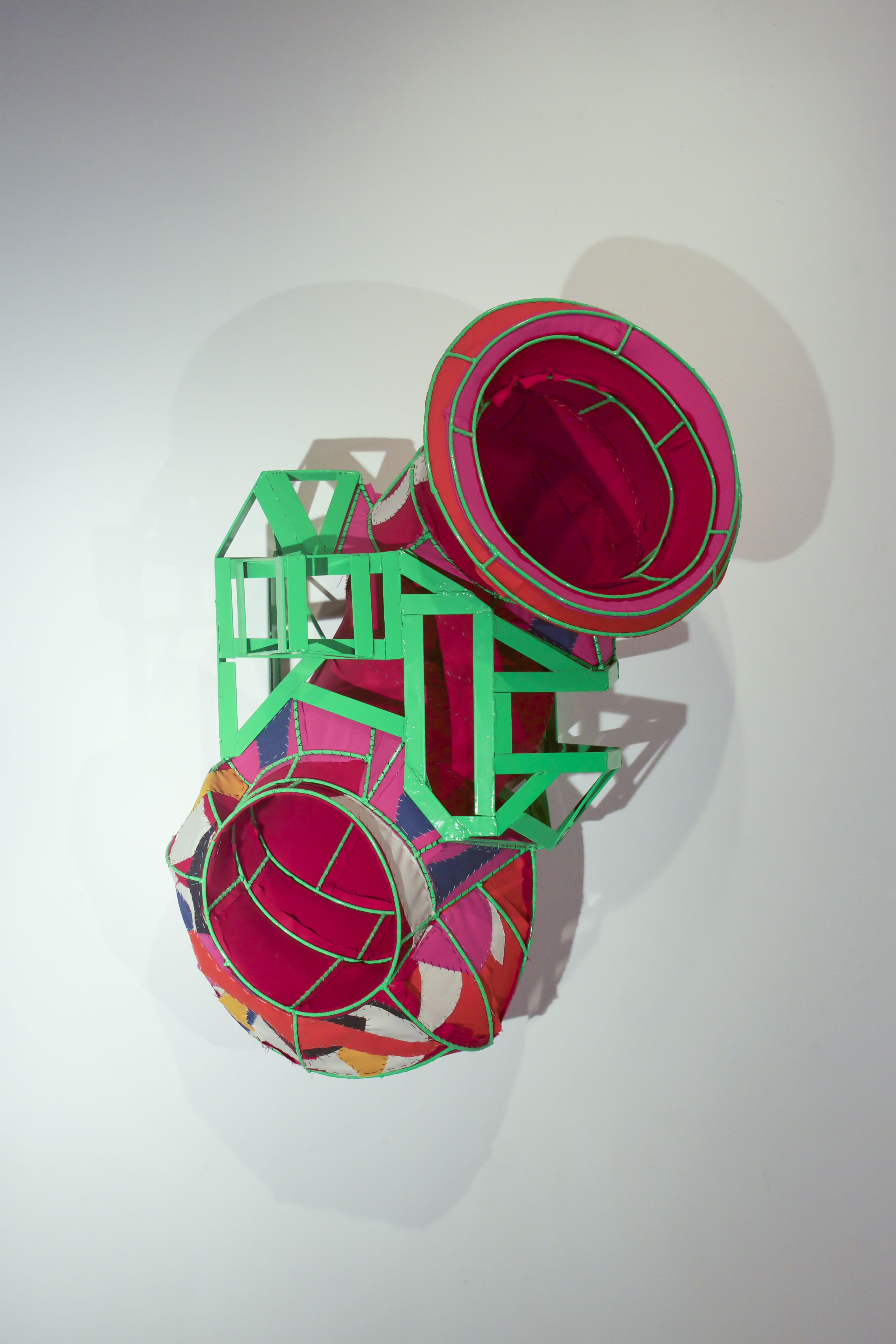 Marriage, 2014 Steel, canvas 40 x 26 x 22 inches  By artist Chad Waples