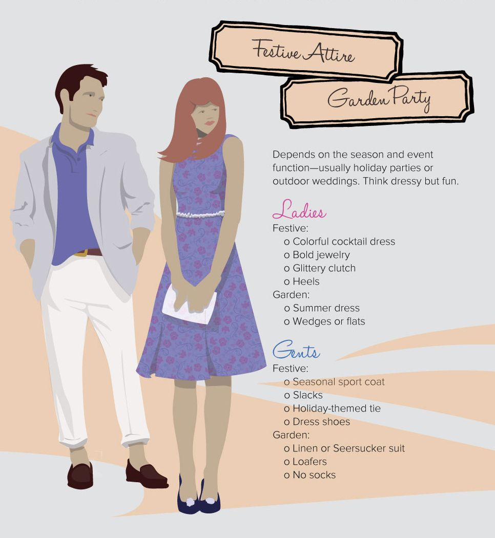 Decoding the dress code festive attire garden party for Formal dress code wedding