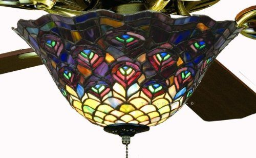 Tiffany street 25021 peacock stained glass ceiling fan light kit tiffany street 25021 peacock stained glass ceiling fan light kit mozeypictures Gallery