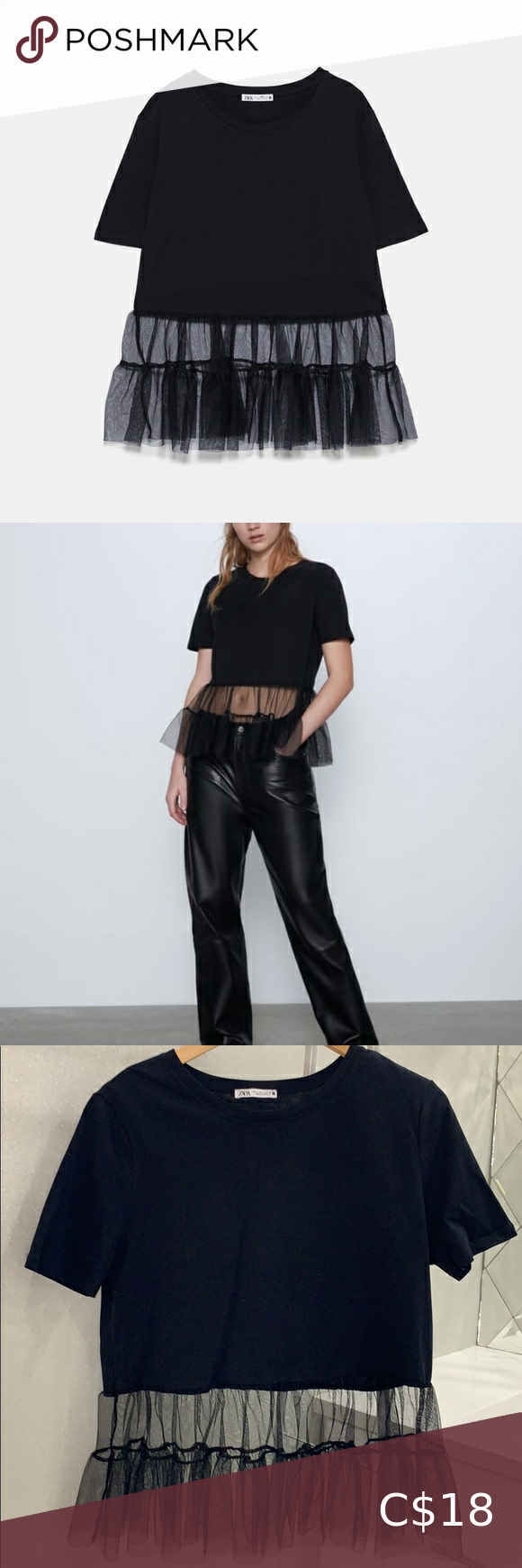 Zara // Black Tulle T-shirt with Ruffles