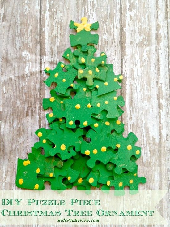 Puzzle Piece Christmas Tree Ornament Craft Idea Christmas Craft