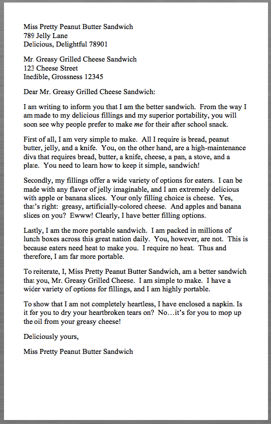 Sample Business Letter Examples Miss Pretty Peanut Butter Sandwich