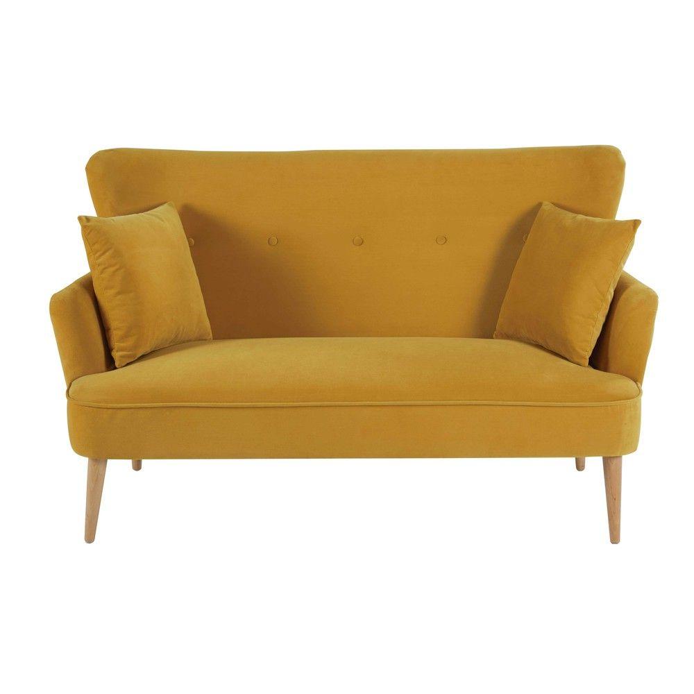 2 Sitzer Sofa Mit Senfgelbem Samtbezug Sofa En Velours Canape Retro Canape 2 Places