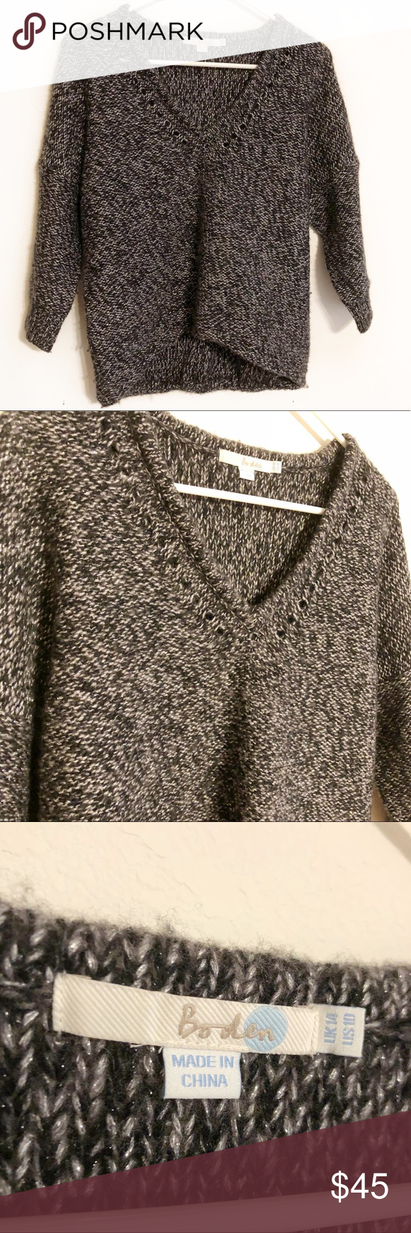 368b70fb256871 Boden metallic v neck sweater Boden size 10 sweater. 3 4 length sleeves. High  low hem. Black and grey metallic knit. V neck with small cutouts along ...
