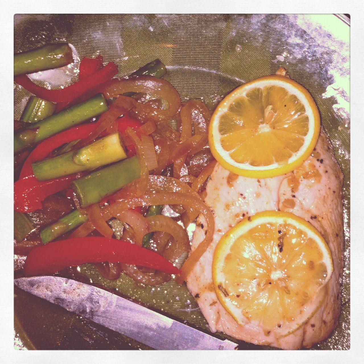 Lemon chicken and veggies!