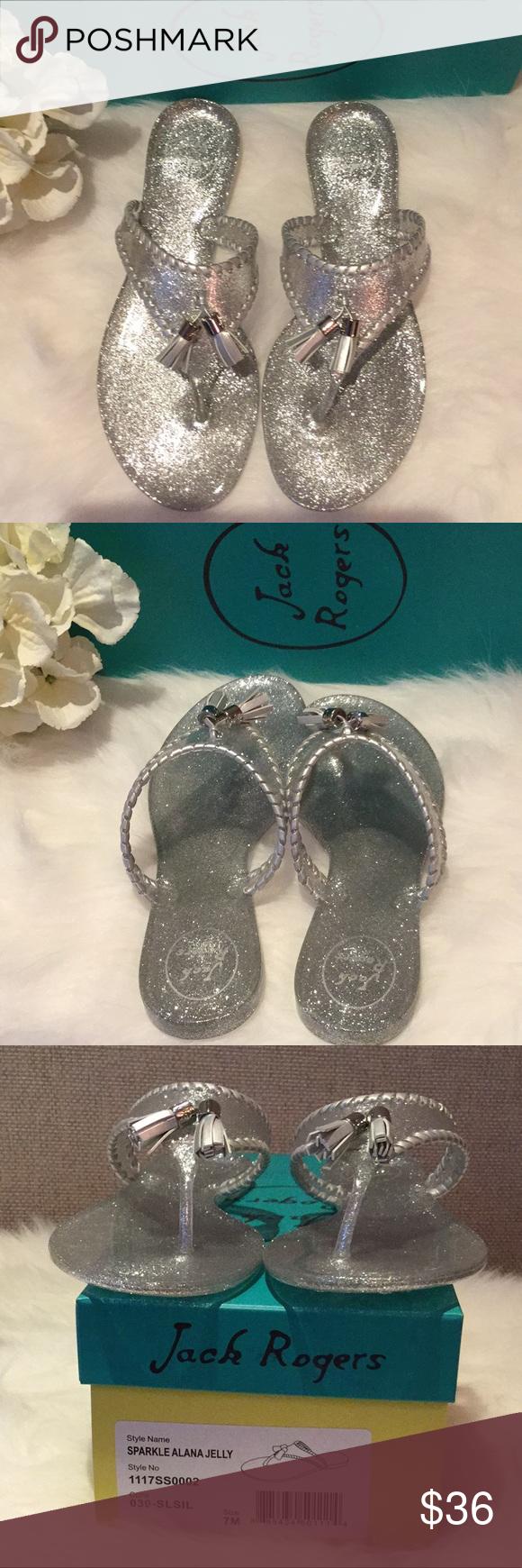 d97987098716 Jack Rogers Silver Sparkle Alana Jelly Sandals NWT Cute and sparkly silver jelly  sandals by Jack