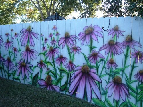 Fence all painted with  giant echinacea( purple cone flowers) #Fence #decorate