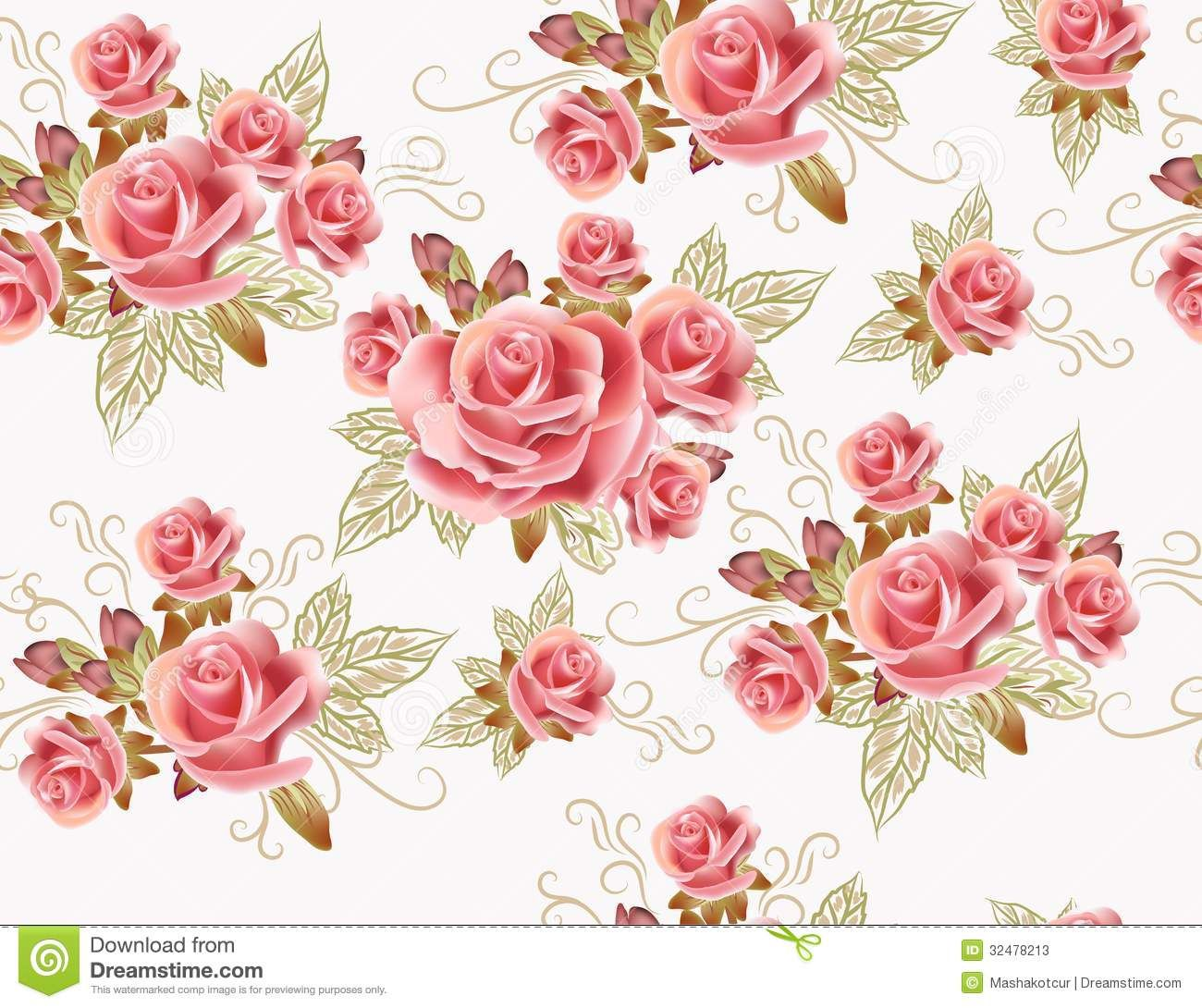 Pink Rose Pattern Wallpapers