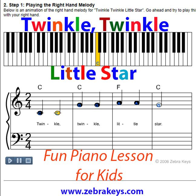 Twinkle Twinkle Little Star Easy Piano Music Beginner Piano