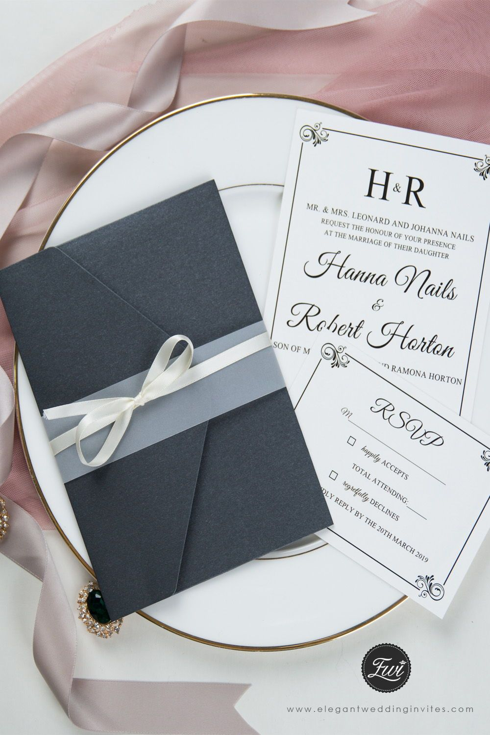 Black Shimmer Pocket Fold With Classic Invitation And Vellum