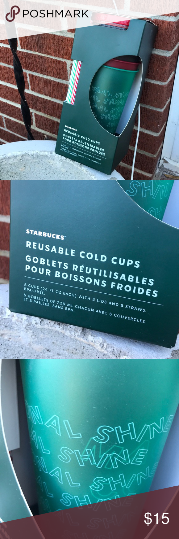 NWT Starbucks 5 Reusable Holiday Cold Cups 24 Oz NWT in