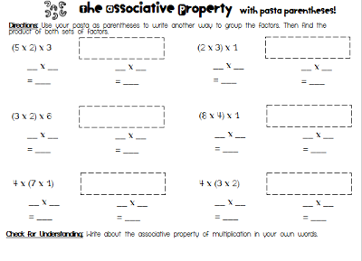 Third Grade Brown Ies Pasta Parentheses And A Freebie Associative Property Properties Of Multiplication Third Grade Lesson Plans