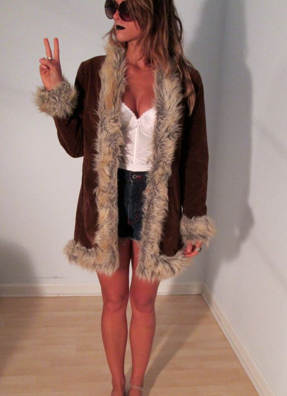 1de666158968 Brown Faux Fur Coat XS S M L Boho Hippie Winter Gypsy Club Kid Acid ...