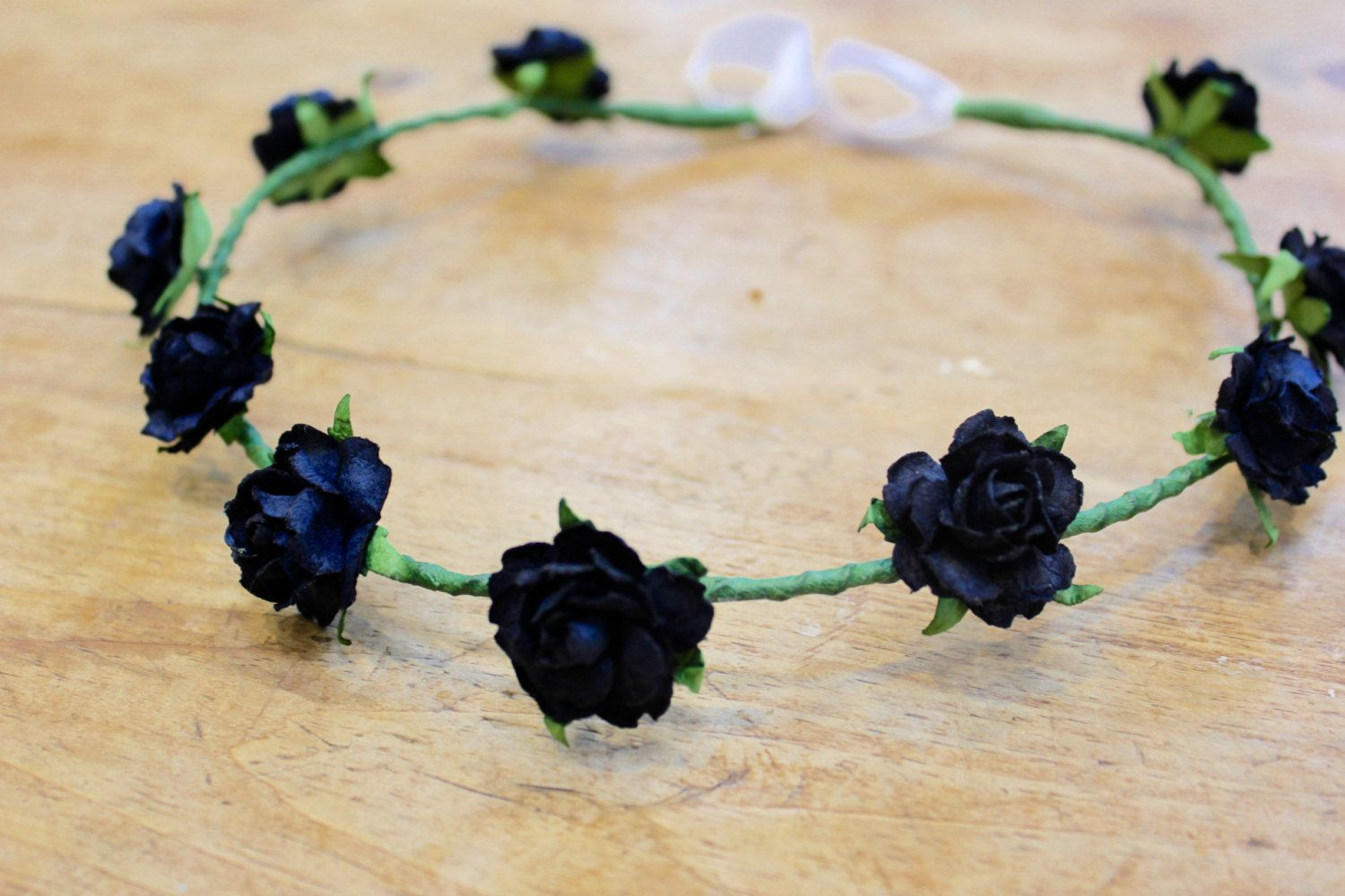 Black Flower Crown By Fleurrosecouture On Etsy Flower Crowns