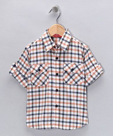Take a look at this Orange Plaid Button-Up - Boys on zulily today!