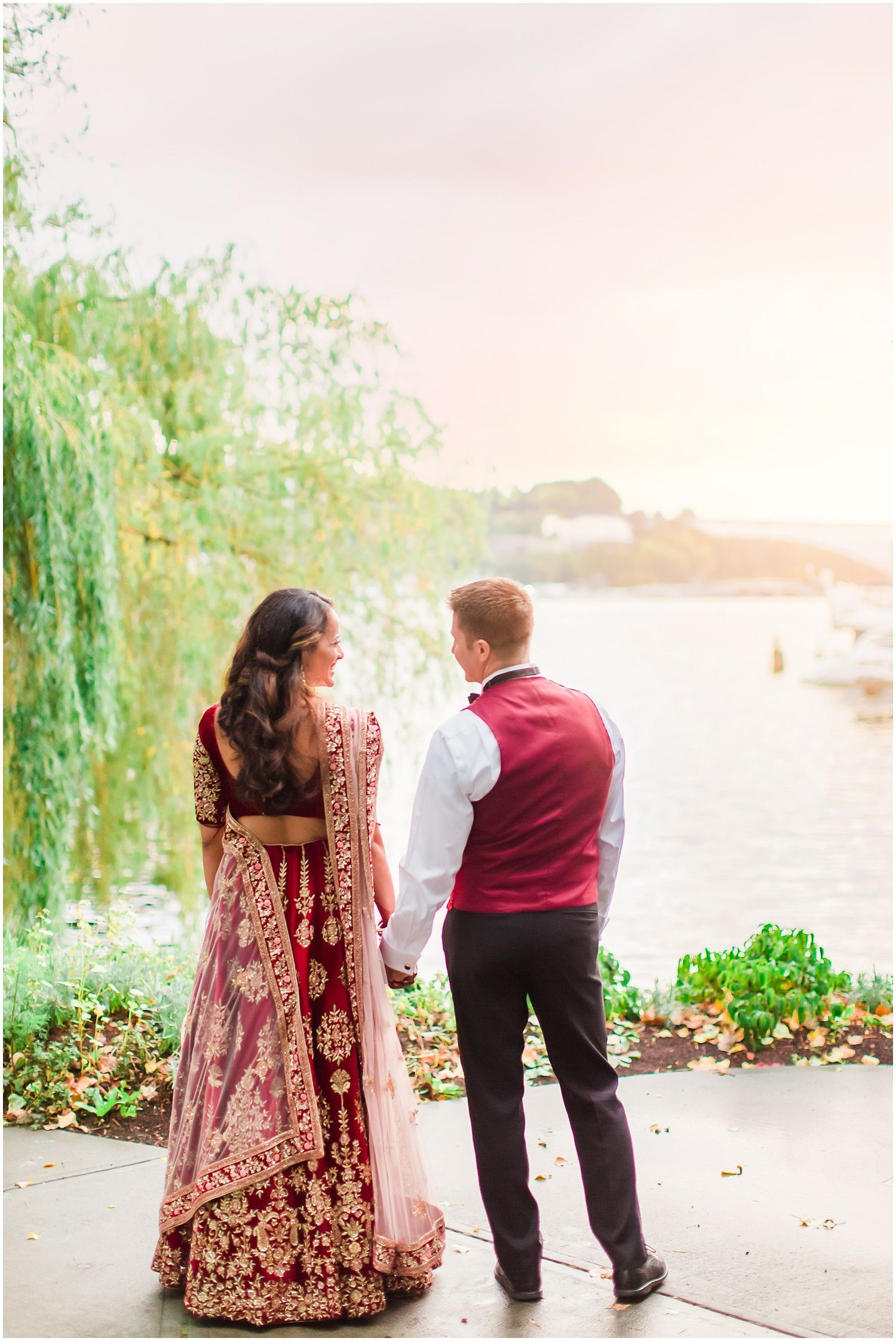 Sunset wedding photos multicultural couple indian american wedding