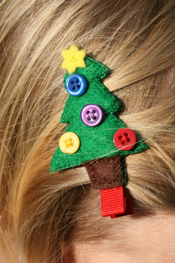 Christmas Tree Hair Clip Christmas Hair Accessories Felt Hair Accessories Christmas Hair Bows