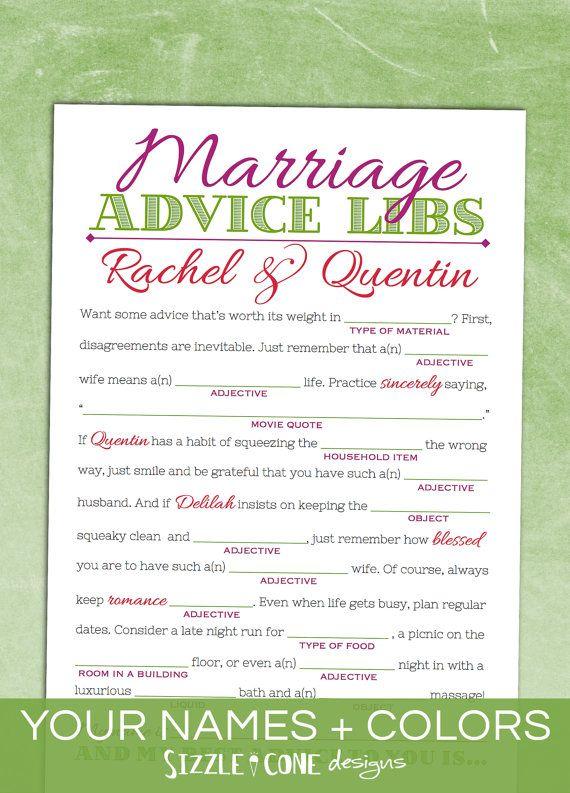 Marriage Advice Mad Libs Wedding Guest Book Alternative Rehearsal Dinner Bridal