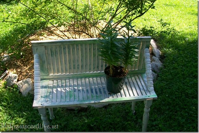 My Repurposed Life-How to Make a Plant Bench from a Shutter
