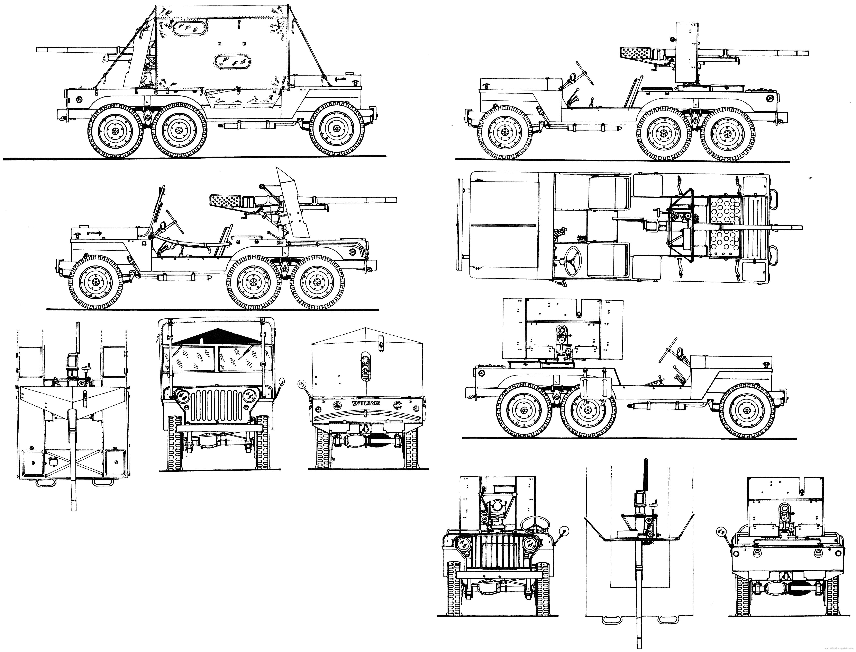 Willys Mt Tug Super Jeep 6x6 T14 37mm