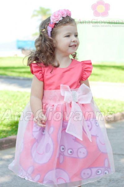 Vestido Peppa Pig   Roupa da peppa pig, Vestido princesa