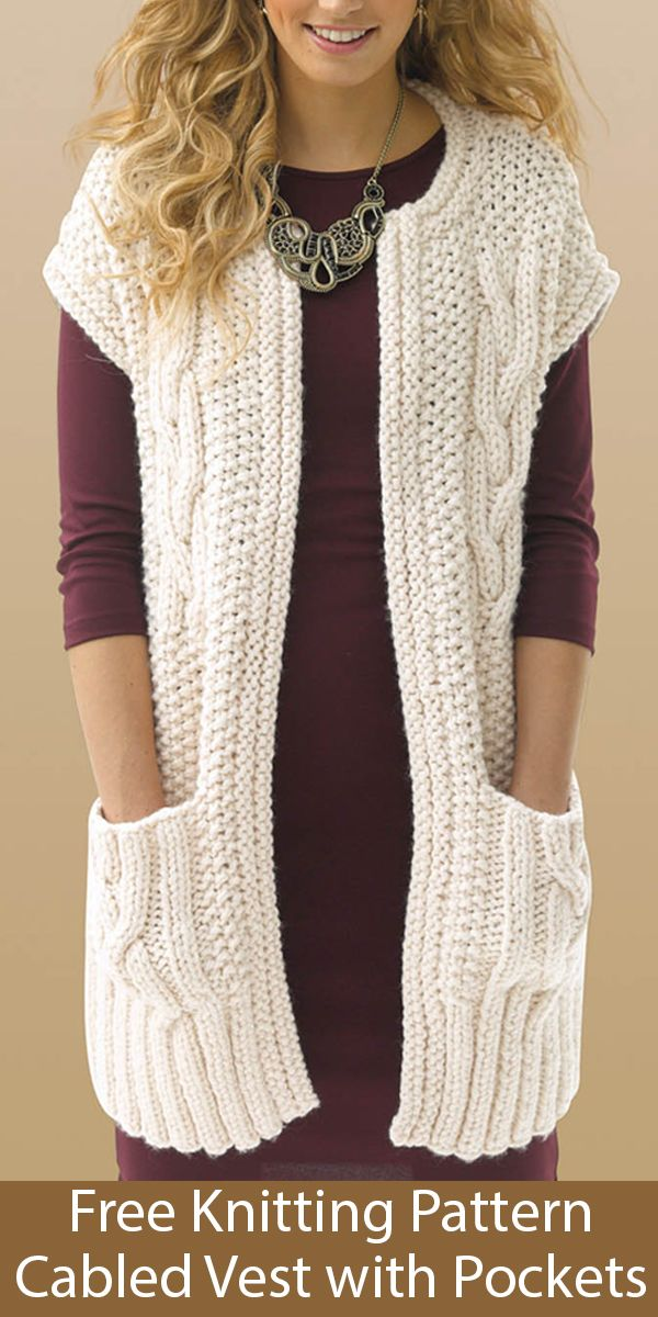 Free Knitting Pattern for Cabled Vest With Pockets