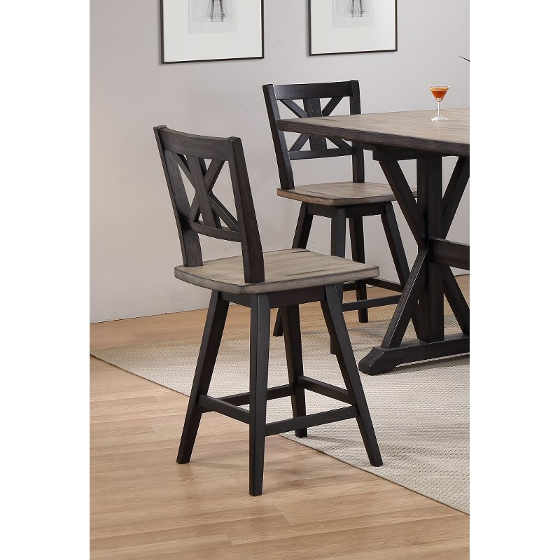 Sand and Black 24 Inch Swivel Counter Height Stool
