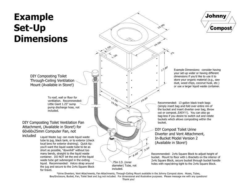 Diy Compost Toilet Urine Diverter And Vent Attachment In Bucket Model Version 2 In 2020 Composting Toilet Liquid Waste Diy Compost