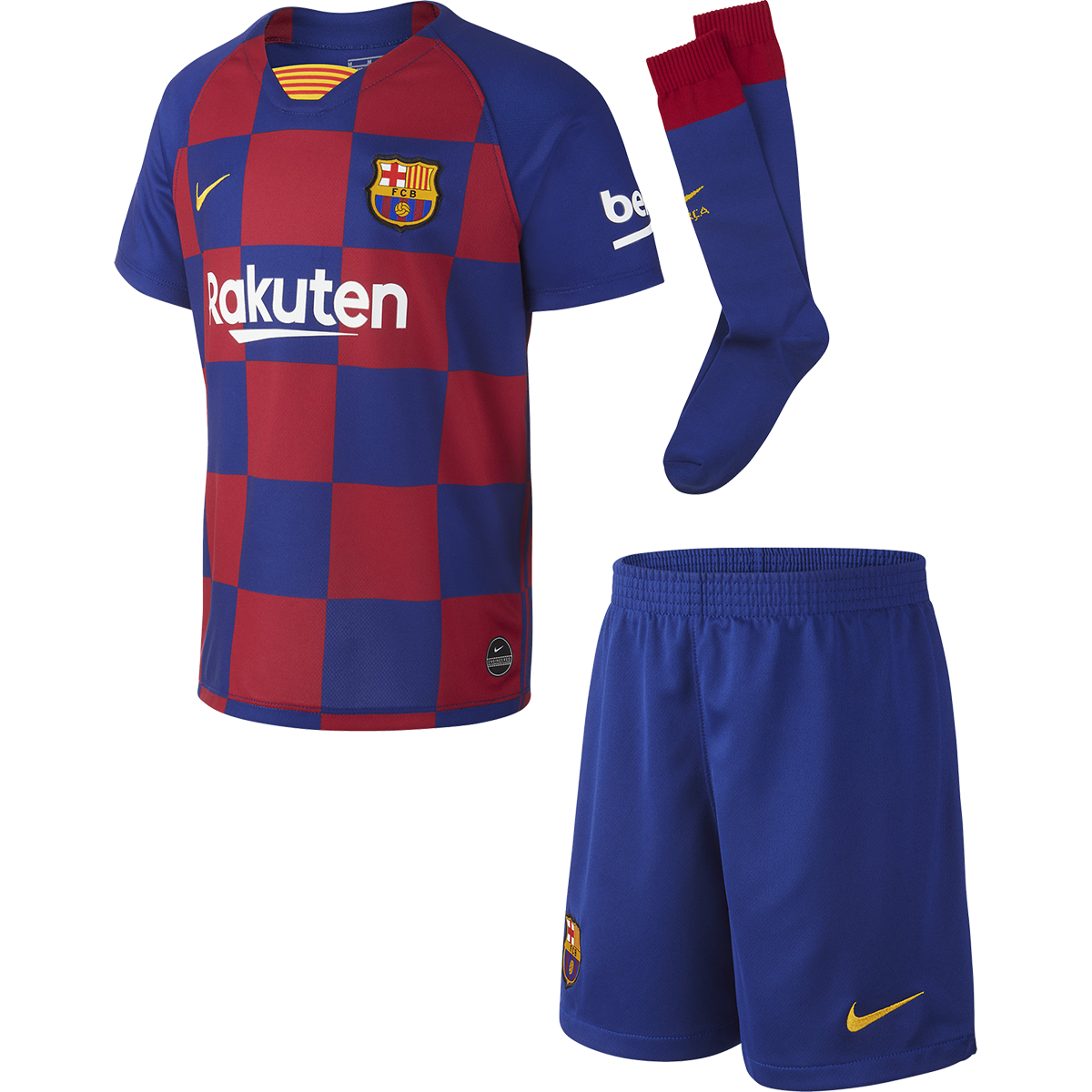 19//20 Blue Soccer Boys Football Club Home Jersey Suit Shirt Short For Kids Kits