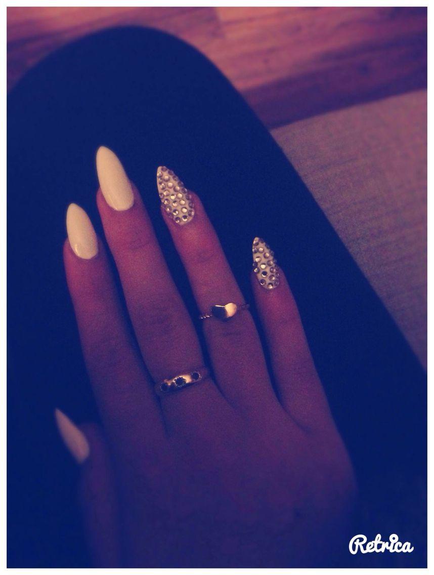 Acrylic diamond & white nails | Nails | Pinterest | White ...