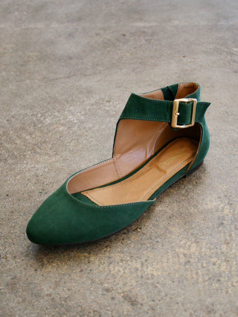 FOREST GREEN ANKLE STRAP BALLET FLATS | Shoes Shoes Shoes ...