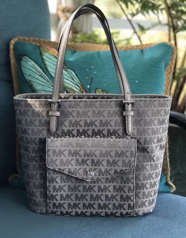 b90703d847a Michael Kors Jet Set Ice Slate Gunmetal Medium Pocket Tote NWT  178   fashion  clothing  shoes  accessories  womensbagshandbags ...