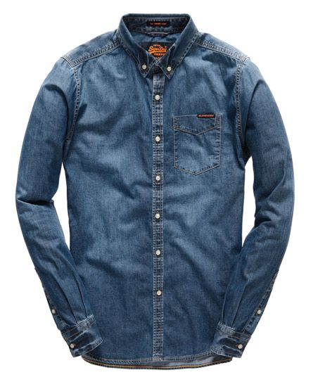 Shop Superdry Mens London Loom Shirt in Classic Blue Wash. Buy now with  free delivery from the Official Superdry Store.