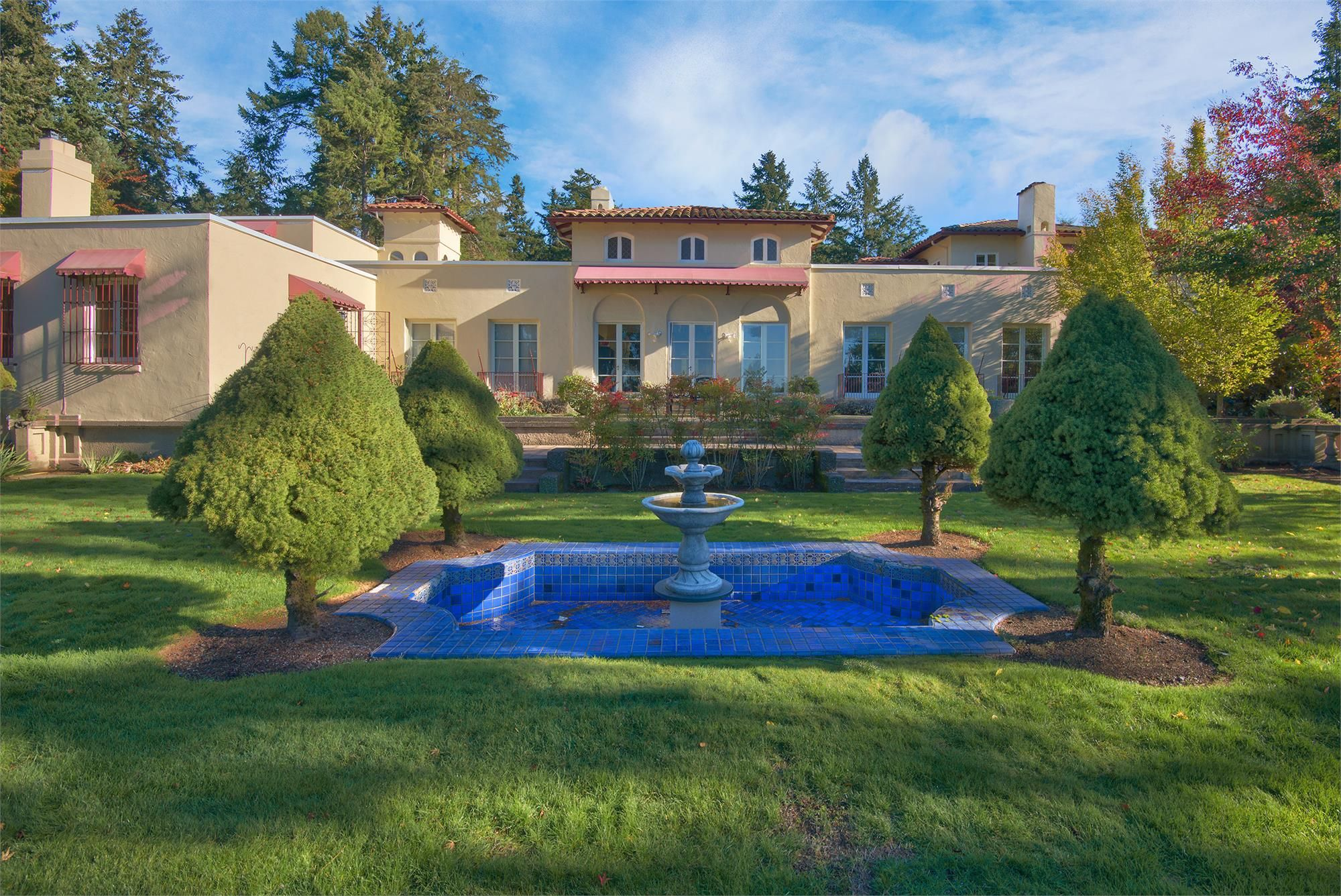 terraced backyard and fountain sold american lake estate