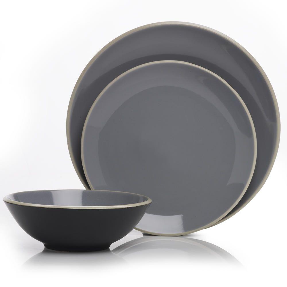 Denby Intro Dining Set Edge Grey On Black 12 Piece Dinner Sets Wilko Dining