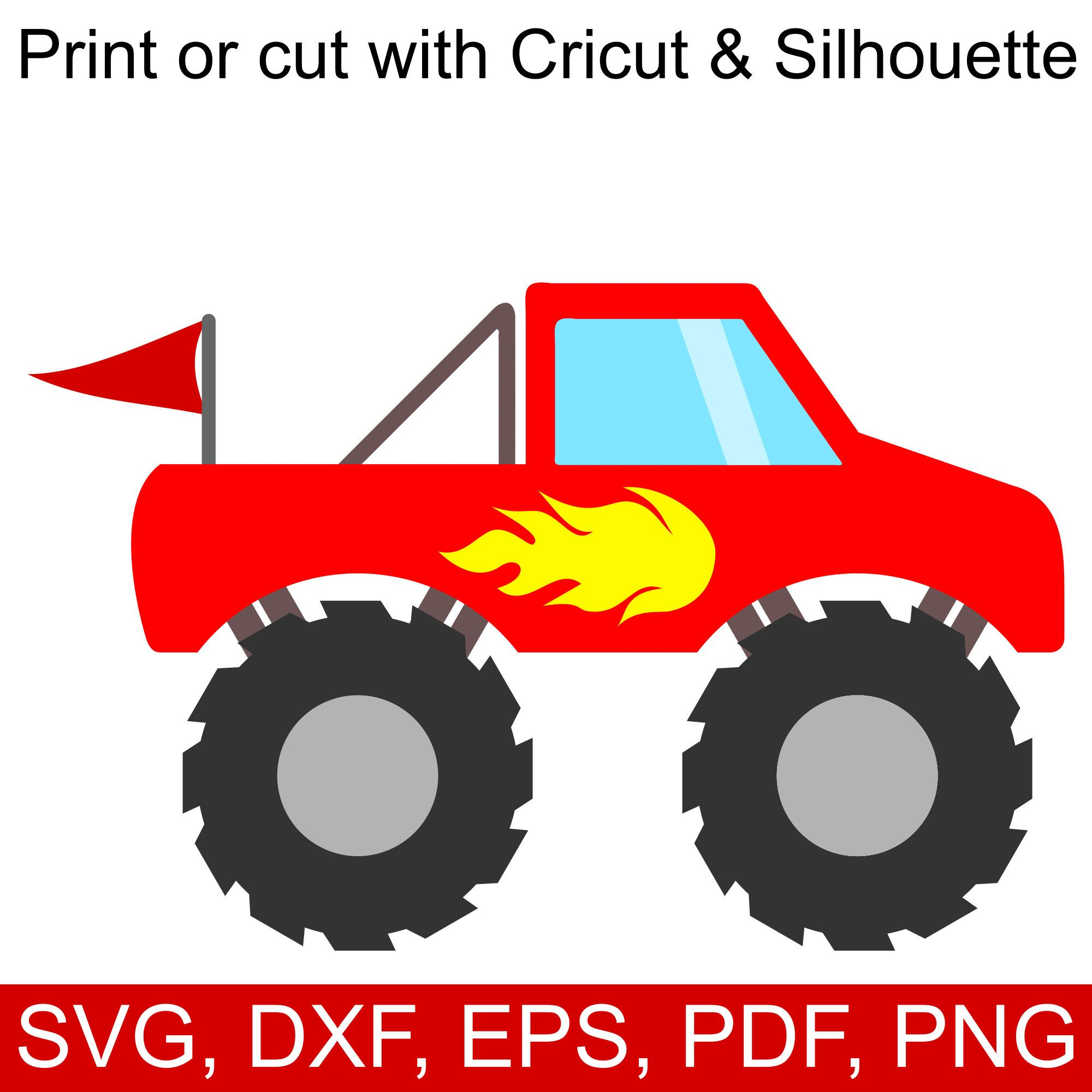 Red Monster Truck Svg File For Cricut Silhouette With Images