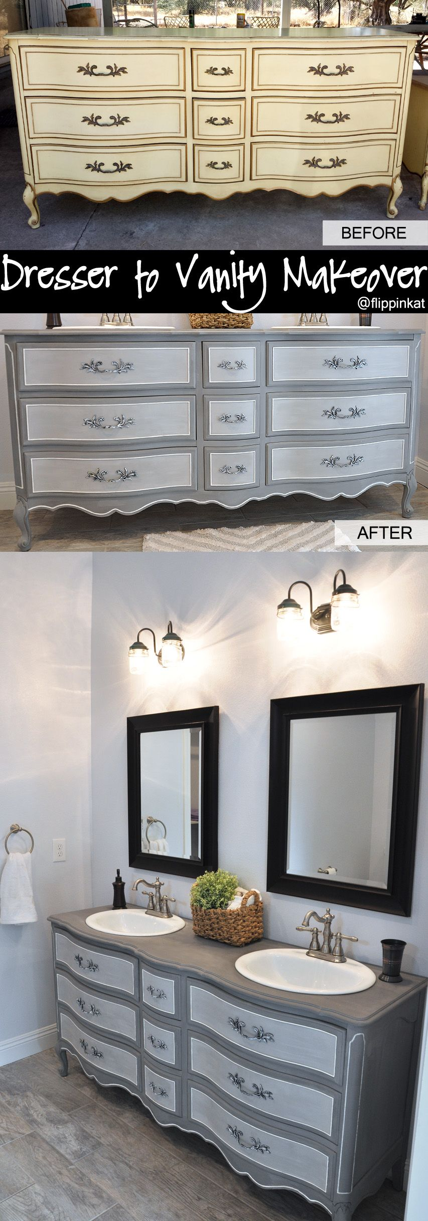 Dresser To Vanity And Bathroom Renovation. Got An Old French Provincial  Style Dresser Off Craigslist