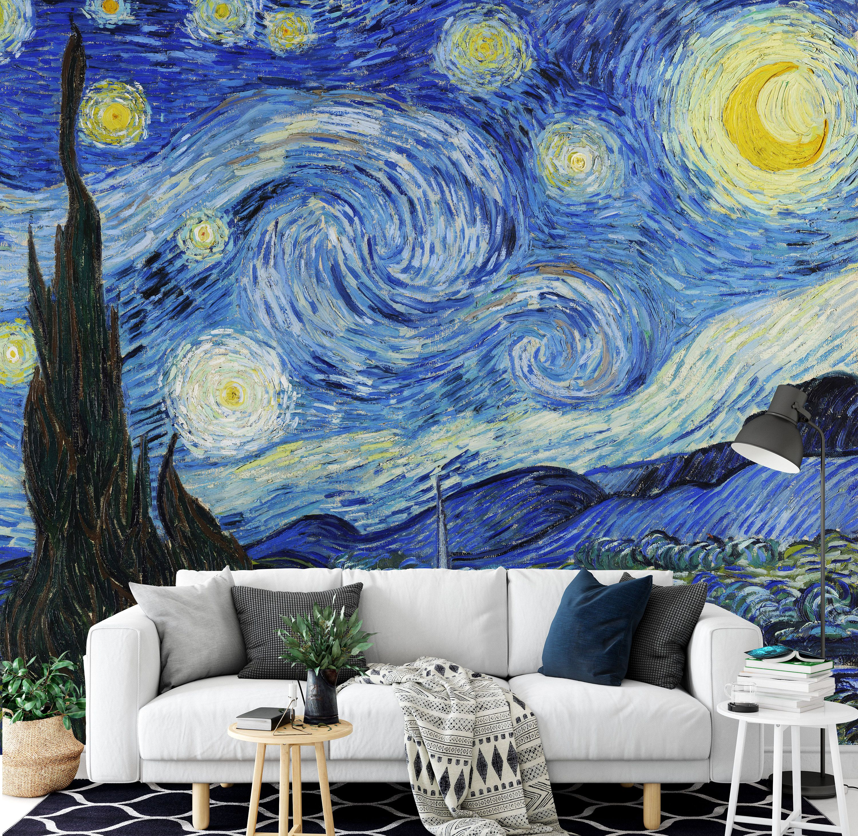 The Starry Night By Vincent Van Gogh Wall Mural Forest Etsy Starry Night Van Gogh Starry Night Wallpaper Van Gogh Wallpaper