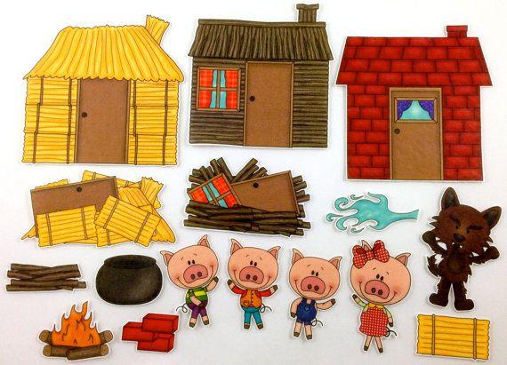 Three Little Pigs Felt Board Story Set | children Flannel Stories ...