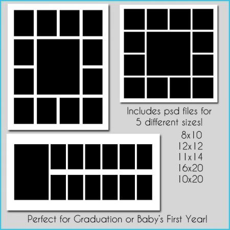 8x10 Photo Collage Template Storyboard set of 5 templates | Photo ...