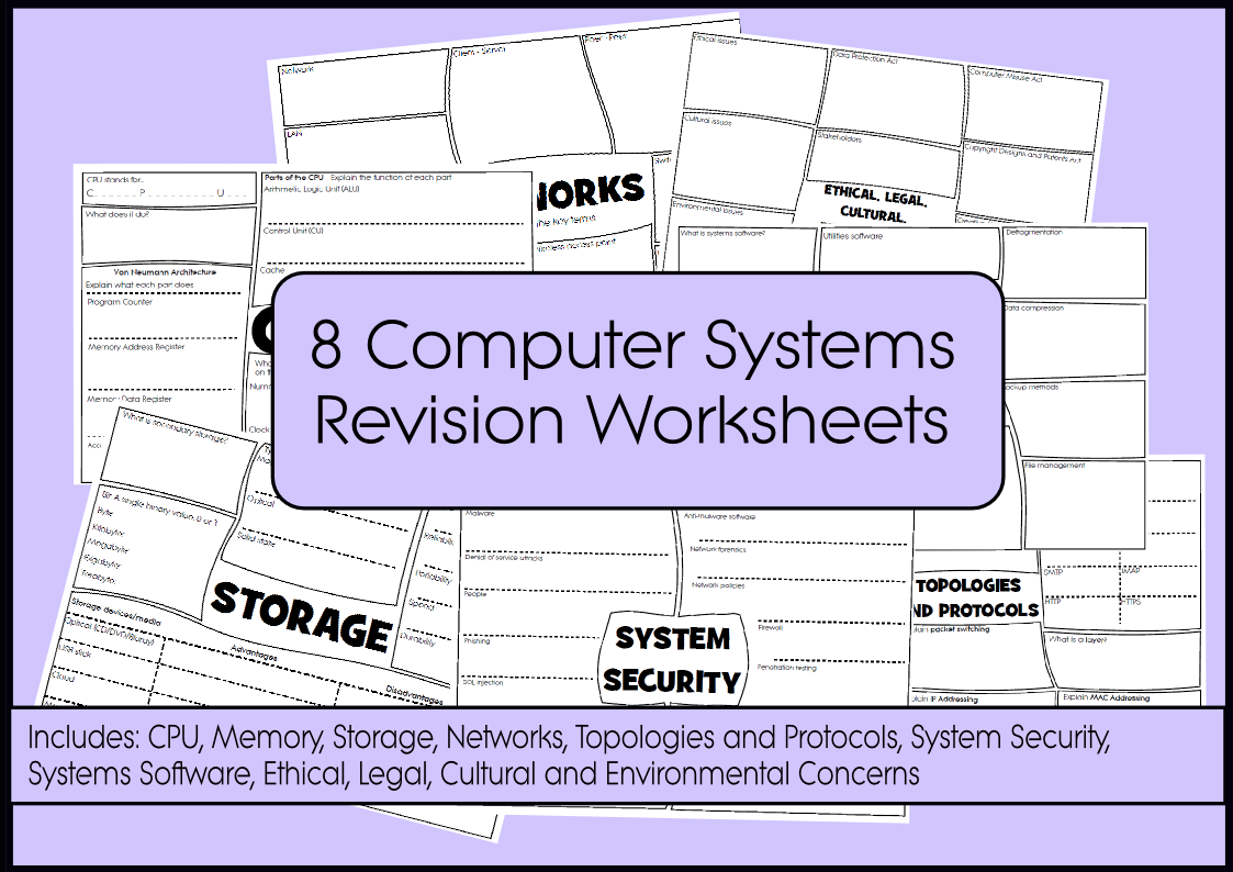 Computer Science Revision Worksheets