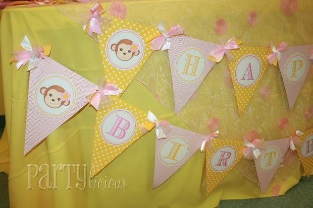 Hostess with the Mostess® - Girly Monkey 1st Birthday