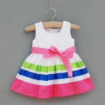 Baby Princess Birthday Girls Party Stripe Skirt Dress