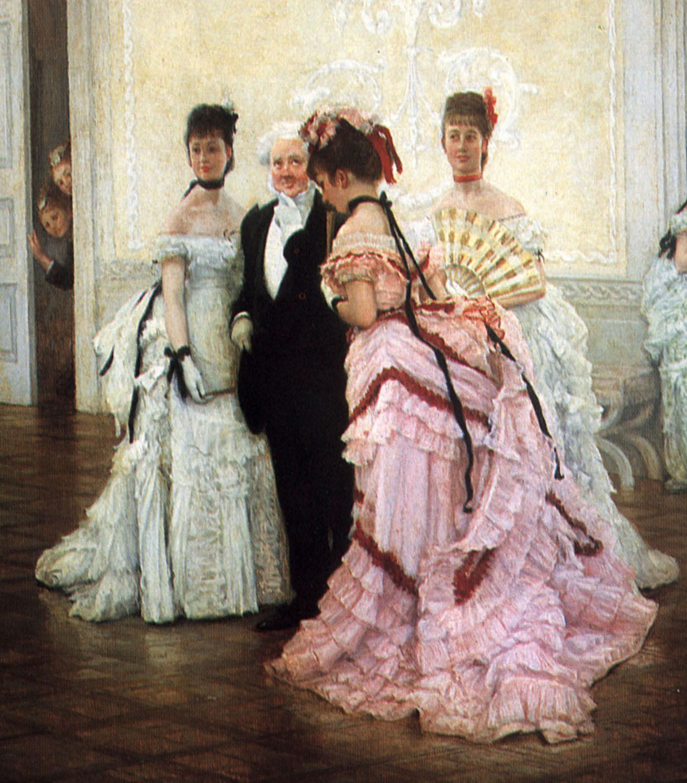 "Bustles and elaborate drapery characterize evening dresses of the early 1870s. The gentleman wears evening dress. Detail of ""Too Early"" by Tissot, 1873"