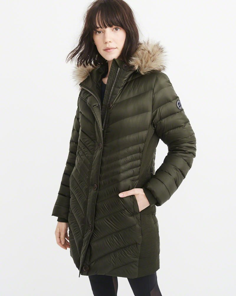 A&F Women's Puffer Meets Parka in Olive Green Size S