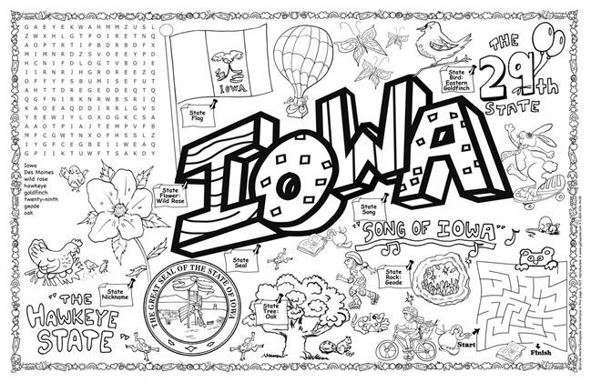 Iowa Symbols Facts Funsheet A Pack Of 30 In 2020 Coloring