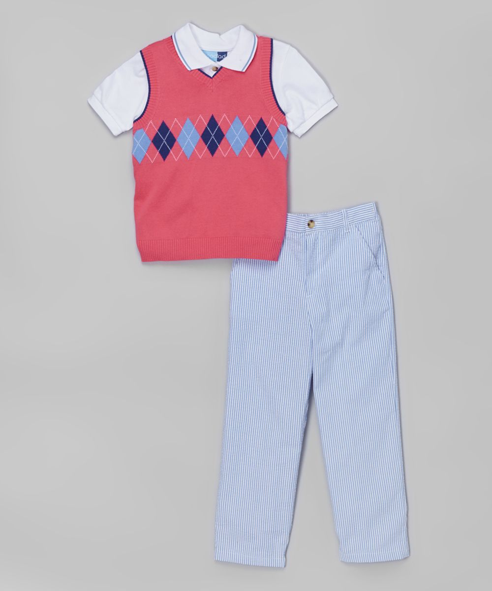 and Striped Seersucker Pants Set Polo Top Good Lad Yellow Argyle Sweater Vest