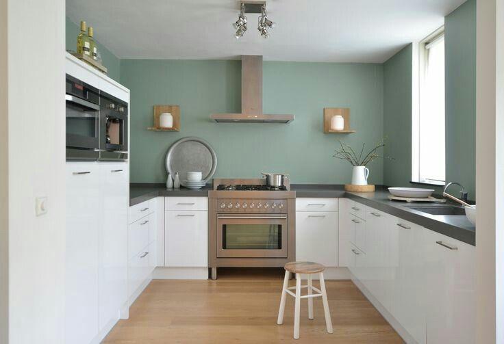 Witte keuken gekleurde muur keuken keuken ideeën keuken idee