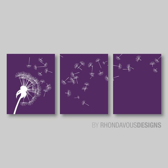 Photo of Dandelion in the Wind Print Trio. Purple and White Dandelion. Home Decor. Wall Art. Living Room. Dandelion Art. Dandelion Nurery. (NS-315)
