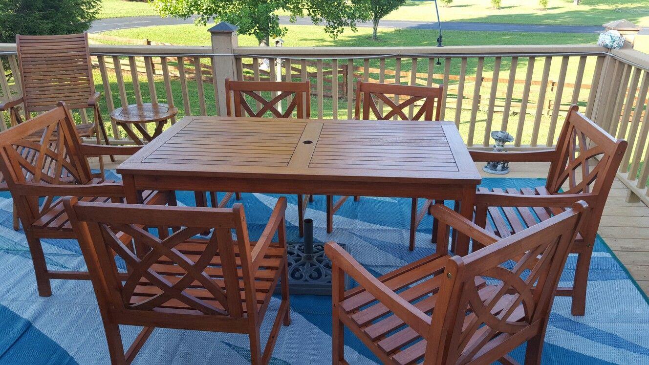 malibu 7 piece eucalyptus patio set finished with cabot australian